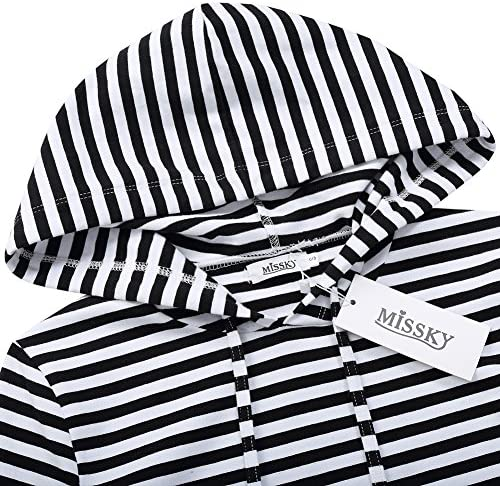 MISSKY Women Stripes Pocket Knee Length Slim Casual Pullover Hoodie Dress at Women's Clothing store