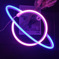LED Neon Signs Planet Pink Blue Planet Night Lights USB Charging/Battery Powered LED Neon Lights Planet Neon Night Light for Wall Decor Christmas Birthday Party Kids Room Wedding Party (Pink+Blue): Home & Kitchen