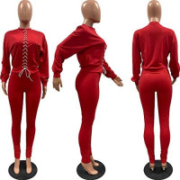 Sexy 2 Piece Outfits Tracksuit for Women- Puff Sleeve Lace Up Cropped Pullover Sweatshirts Jogger Sweatpants Sets Sweatsuits at Women's Clothing store