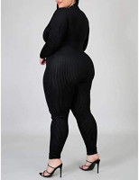 IyMoo Sexy Plus Size Jumpsuits for Women - Long Sleeve Leopard Print Zip V Neck Bodycon Long Romper Playsuits: Clothing
