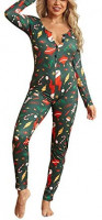 Women Christmas Sleepwear One Piece V Neck Button Pajama Jumpsuit Long Sleeve Trouser Pants Night Wear Romper at Women's Clothing store
