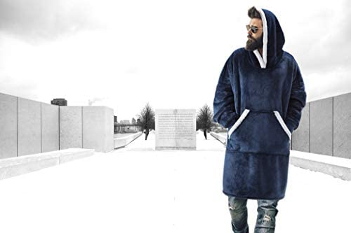 FEDERI The Original Oversized Sherpa Wearable Blanket Hoodie | Plush Fleece Blanket Sweatshirt with Pockets and Sleeves for Men and Women | One Size Fits All (32x44 inches) (Gray): Home & Kitchen