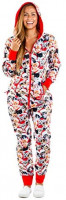 Women's Meowy Catmus Ugly Christmas Sweater Party Jumpsuit - Adult Christmas Cat Onesie at Women's Clothing store