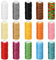 492 Yards 15 Rolls Wax Coated Cords Sewing Polyester Thread Leather Sewing Thread Colorful Jewelry Wax Strings for DIY Bracelets Handcraft, 15 Colors 32.8 Yards of Each