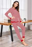 Ekouaer Maternity & Nursing Thermal Underwear Set Striped Knit Long Johns Set Top & Bottom Base Layer for Pregnant Women at Women's Clothing store