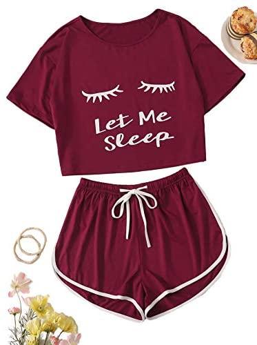 Milumia Women Let Me Sleep Pajamas Sets Short Sleeves Loungewear Casual PJ at Women's Clothing store