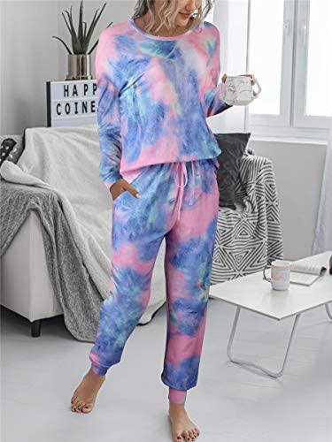 Prinbara Womens Tie Dye Printed Long Pajamas Set Sweatshirt PJ Sets Loungewear at Women's Clothing store