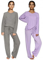 2 Pack: Women's Pajama Set Super-Soft Short & Long Sleeve Top with Pants at Women's Clothing store