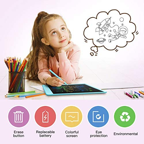 Derabika LCD Writing Tablet Drawing Board, 10 Inch Colorful Doodle Board Drawing Tablet for Kids, Educational Toys for 3 4 5 6 7 Year Old Boys, Christmas Birthday Toys Gifts for Boys Age 2-7 (Blue): Toys & Games