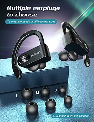 Bluetooth Headphones, Spidoc 5.0 Auto Pairing Deep Bass HiFi Stereo Sound True Wireless Earbuds in Ear Bluetooth Earphones Binaural Call Headset with Built in Mic and Charging Case for Sports Running: Home Audio & Theater