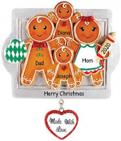 Personalized Made with Love Family of 4 Christmas Tree Ornament 2020 - Parent Child Gingerbread Cookie Roller Pin Tray Glitter Heart Sweet Tradition Winter Activity Gift Year - Free Customization: Furniture & Decor