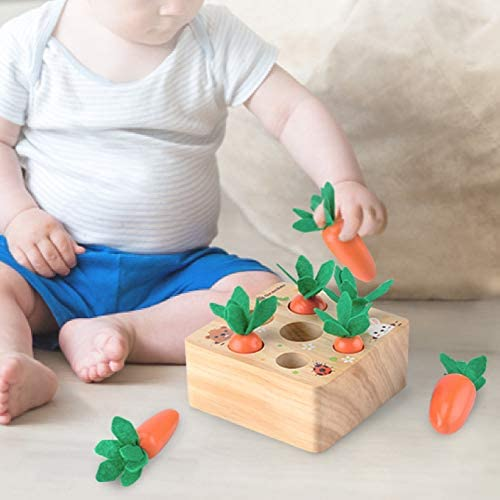 Montessori Matching Game, Wooden Memory Games for Kids, Pull Insert Carrot Matching Game for Children Above 3 Years Yellow: Clothing