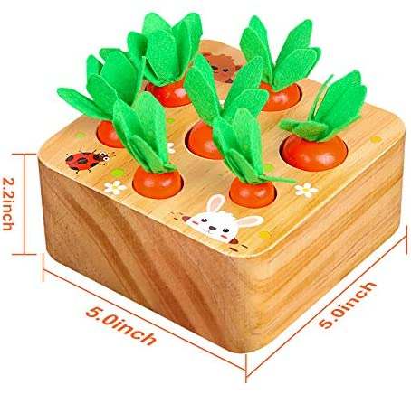 SKYFIELD Carrot Harvest Game Wooden Toy for Boys and Girls 1 2 3 Years Old, Shape Sorting Matching Puzzle Toy with 7 Sizes Carrots, Montessori Toy Gift for Toddlers (Carrot Harvest): Toys & Games
