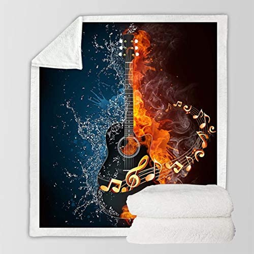 """Sleepwish Music Guitar Blanket Fire and Water Boys Girls Sherpa Fleece Blanket Fashion Musical Notes Decorative Blankets and Throws Queen 90"""" X 90"""", Flaming Guitar: Home & Kitchen"""