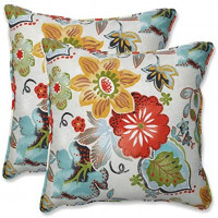 "Pillow Perfect Outdoor/Indoor Alatriste Ivory Tufted Seat Cushions (Round Back), 19"" x 19"", Floral, 2 Count: Home & Kitchen"