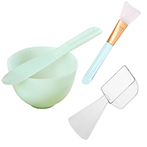 Lemoncy 4 Pack Face Mask Mixing Tool Kit Facial Mask Mixing Bowl And Spatula Silicone Face Mask Brush with 2 in 1 Measuring Cup Spoon for Mixing Modeling Mask Clay Mud Mask DIY Tool : Beauty