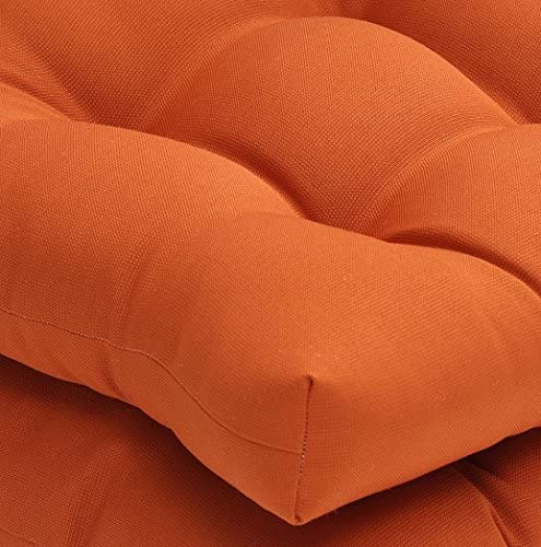 """Pillow Perfect Outdoor/Indoor Cinnabar Tufted Seat Cushions (Round Back), 19"""" x 19"""", Burnt Orange, 2 Pack: Home & Kitchen"""