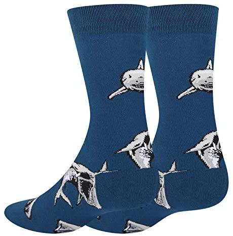 HAPPYPOP Men's Shark Socks Funny Crazy Novelty Shark Attack Crew Socks in Blue Gift: Clothing