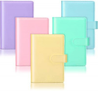 5 Pieces A6 PU Leather Notebook Binder Refillable 6 Rings Binder Cover Loose Leaf Personal Planner with Magnetic Buckle Closure, Blue, Purple, Pink, Green, Yellow : Office Products