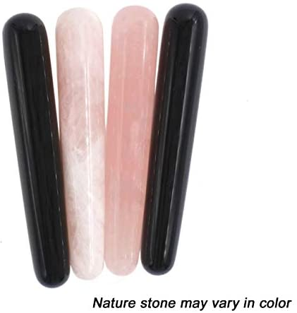 Domika Natural Rose Quartz/Black Obsidian Crystal Massage Wand for Acupuncture Therapy Pointed Stick Tretament Gua Sha Scraping Tool 2pcs (Rose Quartz&Green Aventurine#1): Health & Personal Care