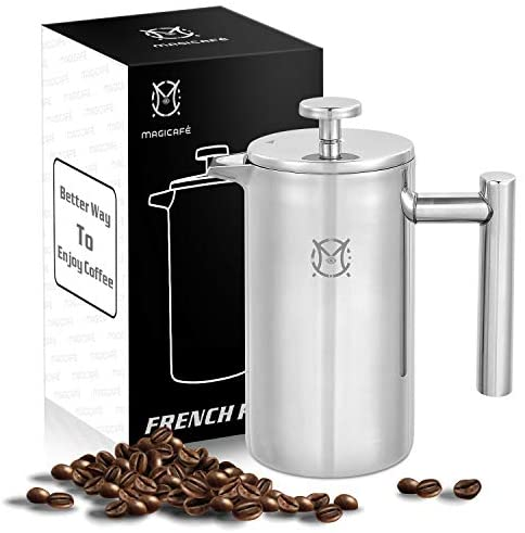 Magicafé French Press Coffee Maker – Single Serve 1 Cup Small Stainless Steel Thermal Double Walled French Press 350ML/12OZ: Kitchen & Dining