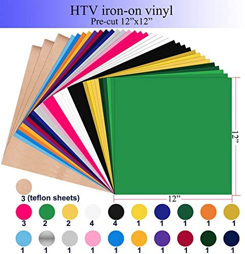 "HIRALIY 12""x12"" HTV Iron On Vinyl, 35-Pack Heat Transfer Vinyl Bundle for Cricut Silhouette Cameo Craft Cutters Including 3 Teflon Sheets, Craft Scissor & Scraper for Heat Press: Kitchen & Dining"