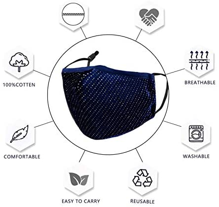 Genovega Cloth Face Mask Washable Reusable Fabric Party Glitter Bling Mesh Rhinestone Breathable Decorative Party Covering Adjustable mascarillas for Women Summer Diamond Sparkly Sequin with Designer: Sports & Outdoors