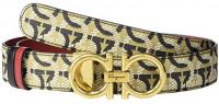 "Salvatore Ferragamo All Gancini 2.5 Adjustable Belt All Gancini Print 100 (40"" Waist) at Women's Clothing store"