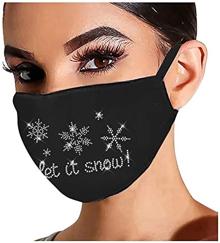 Sparkly Christmas Face_Mask for Women Bling Rhinestone Diamond Reusable Washable Cloth Face Bandana Protection for Adult at Men's Clothing store