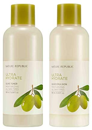 Nature Republic Toner Emulsion Set with Olive Leaf Extracts - Home Skin Care Moisturizer Set with Real Egyptian Olive 10,000ppm, Shea Butter, Vitamin E: Health & Personal Care