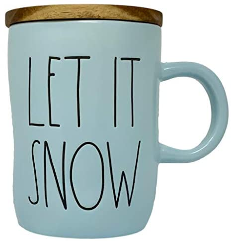 """Rae Dunn Let It Snow Mug - Artisan Collection By Magenta – Beautiful Blue with Black LL Font Letters Spelling """"Let It Snow"""" – Includes wood coaster; doubles as a lid to keep your hot beverage warm: Kitchen & Dining"""