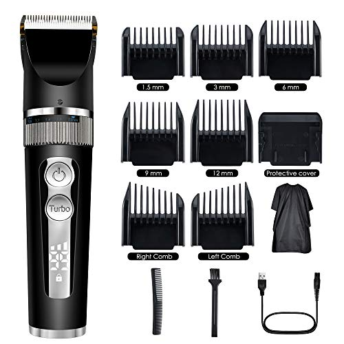 Pro Hair Clippers/Trimmer for Men Professional Cordless Clippers for Hair Cutting Barbers Grooming Kit Rechargeable Electric Hair Trimmer for Men Haircut IPX7 Waterproof Clippers LCD Display black: Beauty