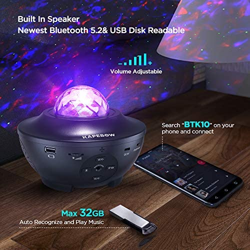 Star Projector, Galaxy Star Night Light Projector Working With Smart App & Alexa, 10 Color Music Starry Light Projector With Remote & Bluetooth, Ocean Wave Sky Light Projector For Bedroom Kids, Adults: Home Improvement