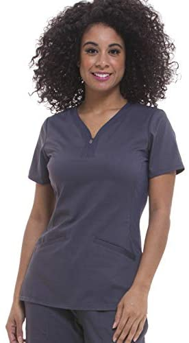 healing hands Purple Label Yoga Women's Jaime 2272 Knit Side Panel Zipper Neck Top Scrubs: Clothing