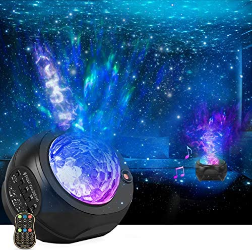 Star Projector Night Lights, HueLiv 3 in 1 Galaxy Projector Light, Sky Nebula/Moving Ocean Wave, Best Gift for Kids Adults for Bedroom/Party with Hi-Fi Stereo Bluetooth Speaker, Voice&Remote Control: Home Improvement