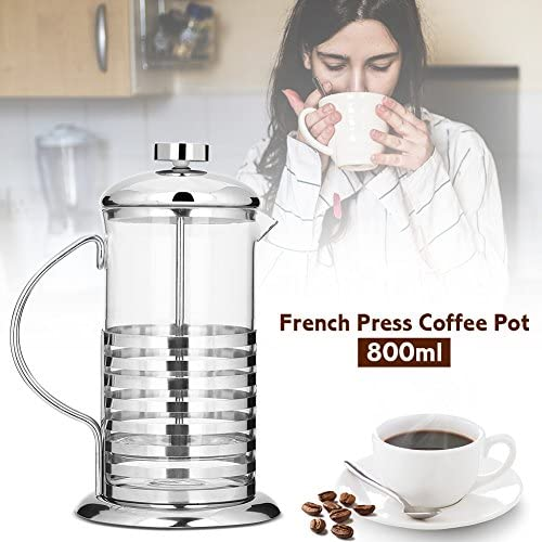 French Press Coffee Maker, Portable Stainless Steel Glass French Press Coffee Cup Pot Plunger Tea Maker(800ML): Kitchen & Dining