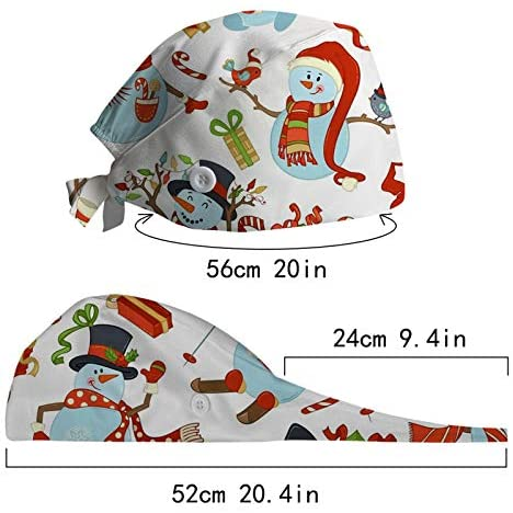 Working Caps with Buttons Upgrade Sweatband Adjustable Bouffant Hats Headwear for Adult Women Men Nurse Favors One Size Available in 4 Christmas Different Styles One Size - US Shipping-4PCS: Musical Instruments