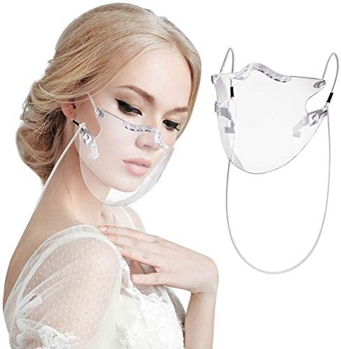 Durable Transparent Face_mask Clear Face_Shield, Visible Expression, Adult Mask With Clear Window Visible Expression For The Deaf And Hard Of Hearing (2PC)
