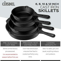 Pre-Seasoned Cast Iron Skillet 4-Piece Chef Set (6-Inch 8-Inch 10-Inch 12-Inch) Oven Safe Cookware - 4 Heat-Resistant Holders - Indoor and Outdoor Use - Grill, Stovetop, Induction Safe: Kitchen & Dining