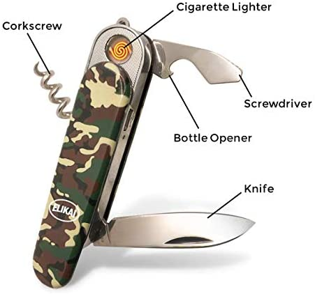 ELIKAI Multi Tool Pocket Knife With Built-In Rechargeable Flameless And Windproof Lighter - Multitools Include a Folding Knife, Screwdriver, Bottle Opener, LED Light, And Corkscrew - Charger Included