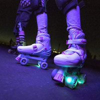 Yvolution Neon Combo Skates   2-1 Quad and Inline Skates for Kids with LED Wheels   Adjustable Sizing : Sports & Outdoors