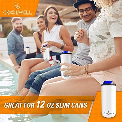 Coolwell Skinny Can Coozie Insulated - 12oz Slim Can Cooler Double Walled Stainless Steel Tall Coozies For Slim Cans to Fit Truly Hard Seltzer and Other Leading Beverages (12oz Slim Can, White): Kitchen & Dining