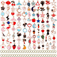 Cadeya 100Pcs Assorted Gold Plated Enamel Pendants Animal Moon Star Fruit Charm for Bracelet Jewelry Making, 120Pcs Rings Included: Clothing