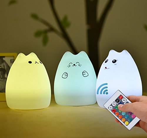 Cat Lamp, NeoJoy Remote Control Silicone Kitty Night Light for Kids Toddler Baby Girls Rechargeable Cute Kawaii Nightlight: Baby