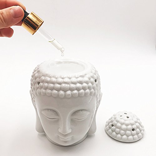 Moylor Buddha Head Essential Oil Diffuser Set of 2, Buddha Aromatherapy Diffuser Ceramic Candle Holder Incense Burner (White): Health & Personal Care