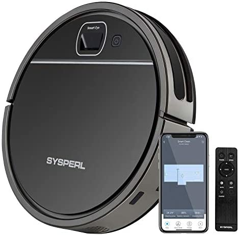 Robot Vacuum Cleaner, SYSPERL V50 Robotic Vacuum Cleaner with Visual Navigation, Super-Thin, Quiet, Wi-Fi Connect, Voice Control .1800Pa Strong Suction, Good for Pet Hair, Hard Floors and Low Pile Carpet.