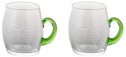 2pc Gluehwein Mug Glass Wine Cup Engraving Grapes & Vine Leaves Germany Etched Glass Vintage Design Mulled Wine Mug: Glassware & Drinkware
