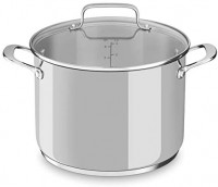 KitchenAid Stainless Steel 8-qt. Stockpot with Glass Lid Oven safe Dishwasher KC2S80SCLS: Kitchen & Dining