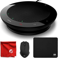 Jabra Speak PHS001U 410 Portable Wired USB Conference Speakerphone for Skype and VoIP Calls (100-43000000-02) Bundle with Circuit City 2.4GHz Wireless Optical Mouse, Thin Mouse Pad & Microfiber Cloth: Home Audio & Theater