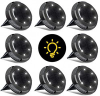 Solar Ground Lights Outdoor,10 LED Outdoor Ground Lights Solar Powered,Waterproof Solar Disk Lights Outdoor Inground Lights,Solar Garden Landscape Lights for Pathway Walkway Patio Yard,8 Packs: Home Improvement